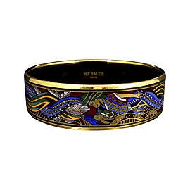Hermes Gold Tone Metal Cloisonne and Multi-Color Enamel Bangle Bracelet