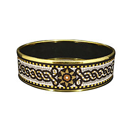 Hermes Gold Tone Metal Cloisonne and Black Enamel Bangle Bracelet