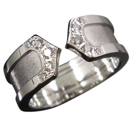 Cartier 18K White Gold Diamonds Double C Ring Size 3.75