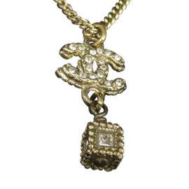 Chanel Coco Mark CC Logo Gold-Tone Pendant Necklace