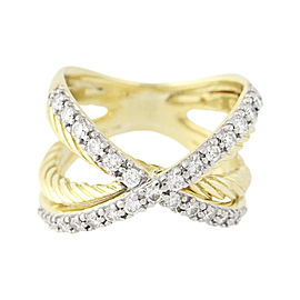 David Yurman 18K Yellow Gold 0.65ctw Diamond Crossover Cable Ring Size 6.0