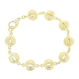 Judith Ripka Sterling Silver & Gold Tone with Cubic Zirconias Link Bracelet