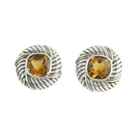 David Yurman 925 Sterling Silver & 14K Yellow Gold Citrine Earrings