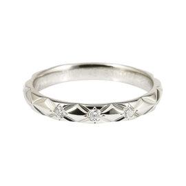 Chanel PT950 Platinum Diamond Matelasse Ring 4.5