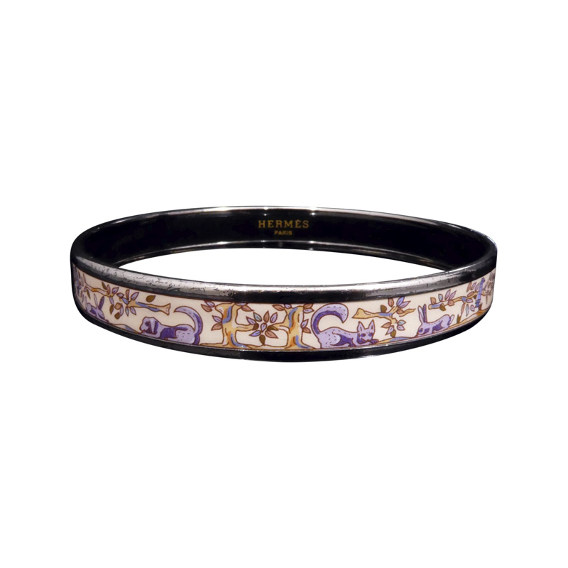 "Image of ""Hermes Silver Tone Metal & Cloisonne Enamel Silver Pink Animal Bangle"""