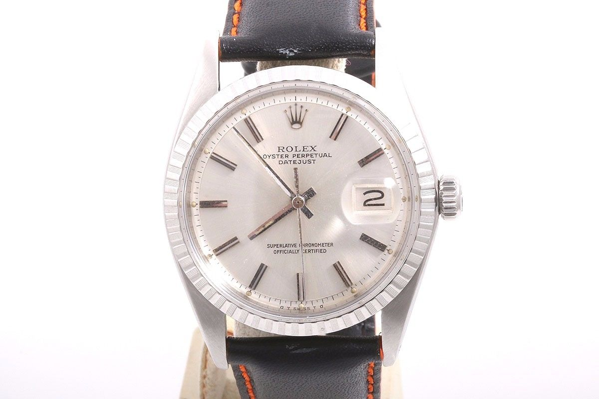 """Image of """"Rolex 1603 Datejust Stainless Steel & Leather Silver Stick Sigma"""""""
