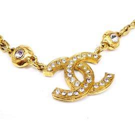 Chanel Coco Mark CC Logo Gold-Tone Rhinestones Chain Pendant Necklace
