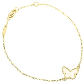 Van Cleef & Arpels 18K Yellow Gold Mother of Pearl Sweet Alhambra Butterfly Bracelet