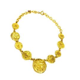 Chanel CC Logo Coco Mark Gold Tone Hardware Pendant Necklace