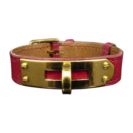 Hermes Red Bordeaux Gold Tone Hardware Kelly Belt Bracelet
