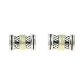 David Yurman Sterling Silver & 14k Yellow Gold Cable Cufflinks
