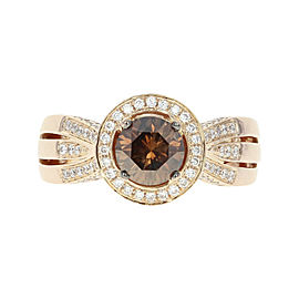 Le Vian 18K Rose Gold 1.86ctw Diamond Halo Ring Size 7