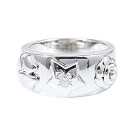 Chanel 18K White Gold Diamond Camellia Star Ring Size 7.75