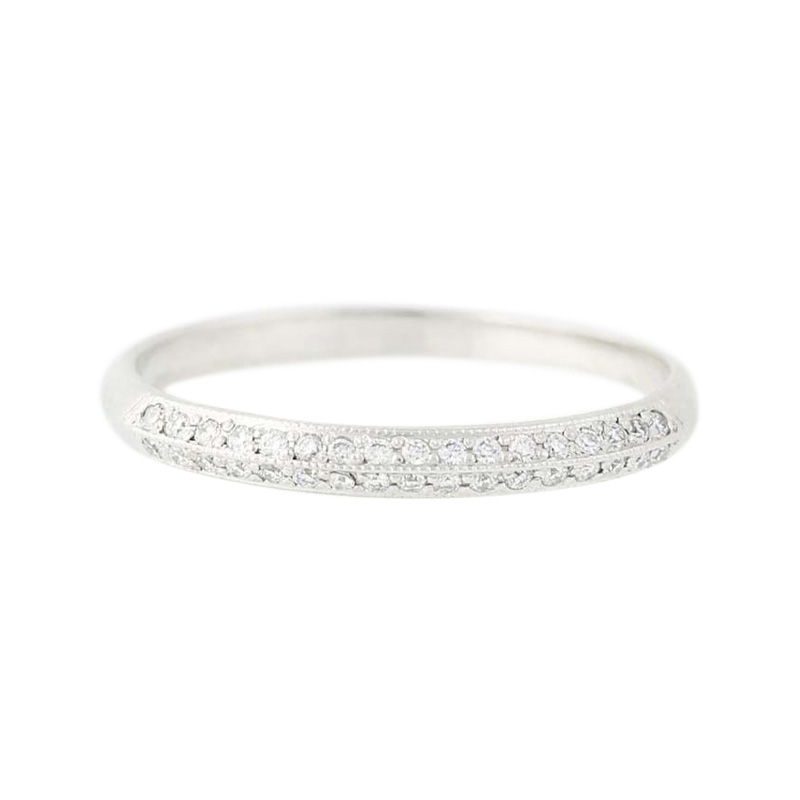 "Image of ""Tacori 18K White Gold Milgrain 0.16ctw Diamond Wedding Band Ring Size"""