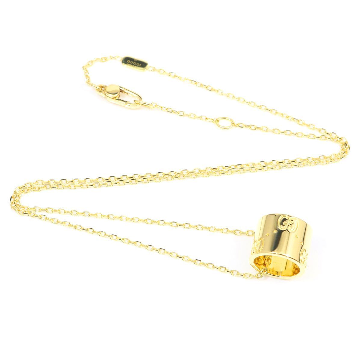 """""Gucci 18K Yellow Gold Icon GG Logo Pendant Chain Necklace"""""" 2001887"