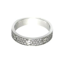 Cartier Mini Love 18K White Gold with Diamond Ring Size 5.25
