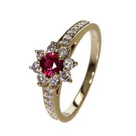 Tiffany & Co. 18K Yellow Gold Diamond & Ruby Flora Ring Size 4.75