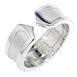 Cartier 18K White Gold Double C C2 Ring Size 3.75