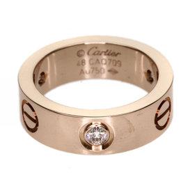 Cartier Love Diamond 18K Rose Gold Ring Size 4.5