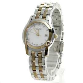 Gucci 5500 L Stainless Steel Gold Plated Diamond 27mm Women's Watch
