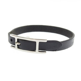 Hermes Silver Tone Hardware / Apiburesu Leather Bracelet