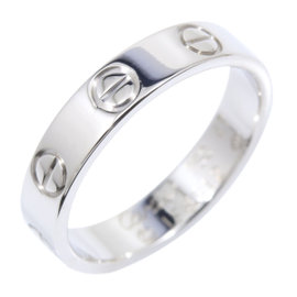 Cartier Mini Love 18K White Gold Ring Size 4.25