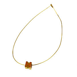 Hermes Gold Tone Hardware Orange H Cube Logos Vintage Necklace