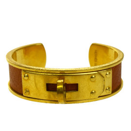 Hermes Gold Tone Hardware & Leather Kelly Motif Bangle Bracelet