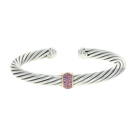 David Yurman Sterling Silver & 18K Rose Gold Pink Sapphires Cable Station Cuff Bracelet