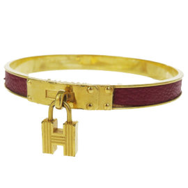 Hermes Leather & Gold Tone Hardware Kelly Motif Bangle Bracelet