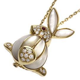 Van Cleef & Arpels 18K Yellow Gold with Diamond and Ruby Rabbit Mother of Pearl Necklace