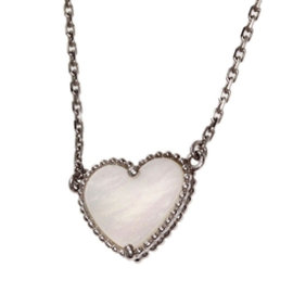 Van Cleef & Arpels 18K White Gold Lucky Alhambra Mother of Pearl Necklace