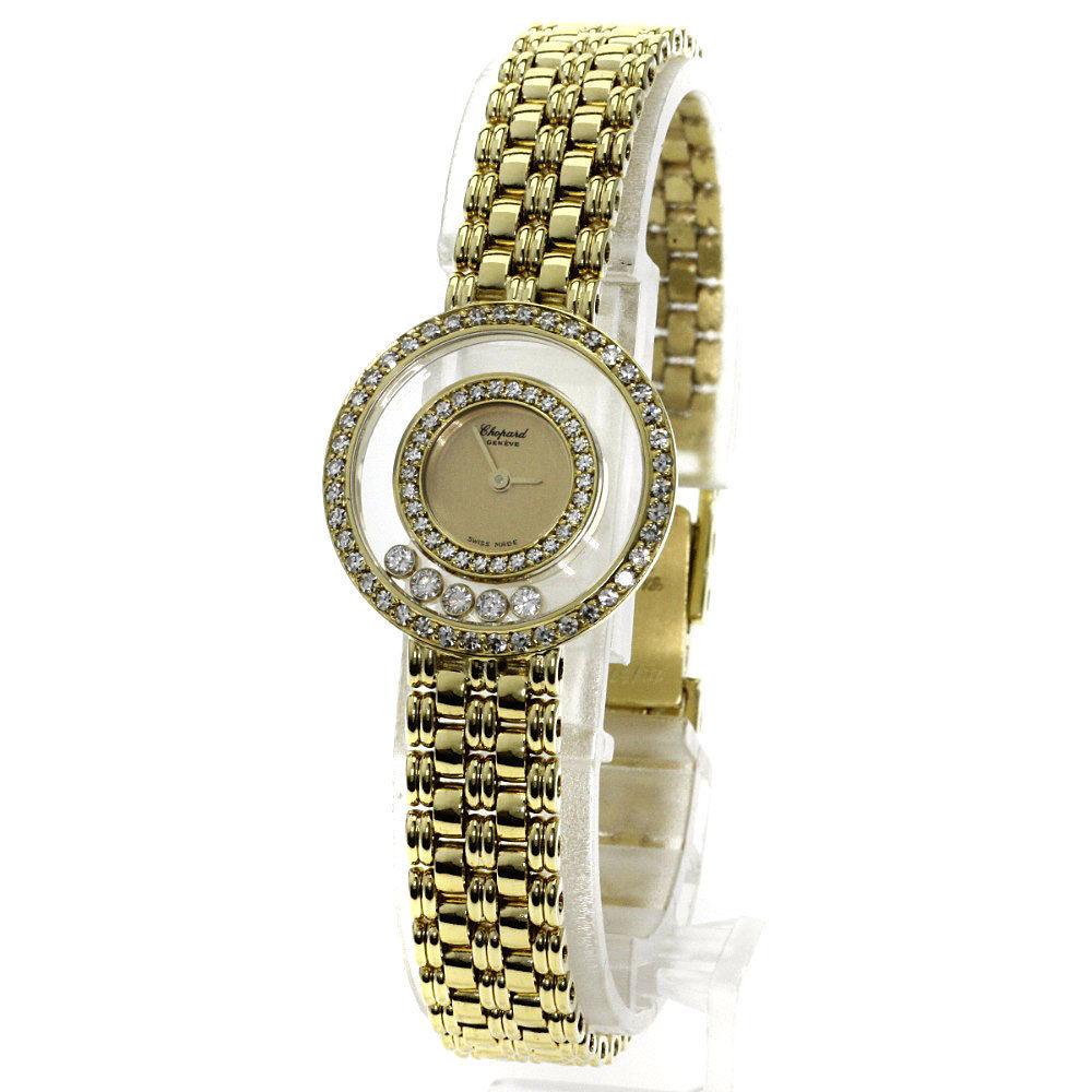 "Image of ""Chopard Happy Diamond 18K Yellow Gold Quartz 23mm Womens Watch"""