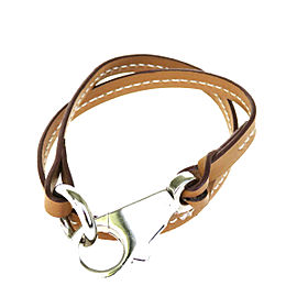 Hermes Leather & Silver Tone Hardware Jumbo Hook Double Wrap Bracelet