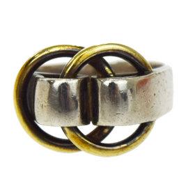 Hermes 925 Sterling Silver & Gold Tone Hardware Vintage Ring Size 6