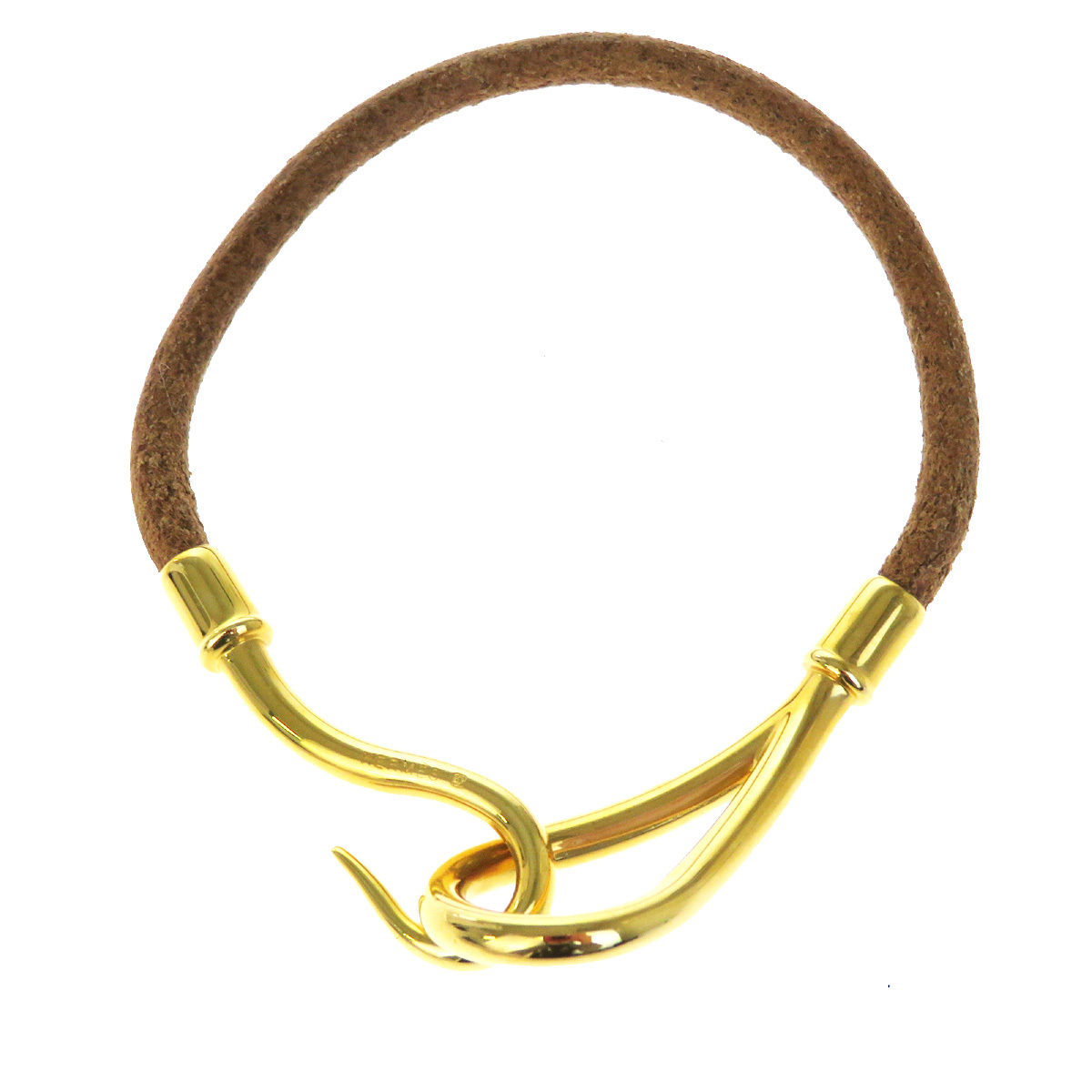 "Image of ""Hermes Leather & Gold Tone Hardware Jumbo Hook Bangle Bracelet"""