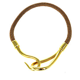 Hermes Leather & Gold Tone Hardware Jumbo Hook Bangle Bracelet