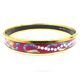 Hermes Gold Tone Hardware & Enamel Cloisonne Bangle Bracelet