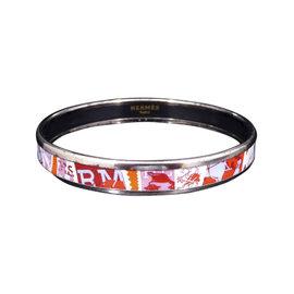 Hermes Silver Tone Hardware & Enamel Cloisonne Bangle Bracelet