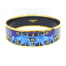 Hermes Cloisonne Blue Enamel Gold Tone Hardware Bird Bangle Bracelet