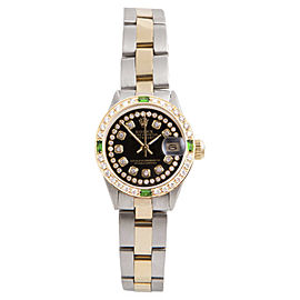 Rolex Datejust Yellow Gold And Stainless Steel with Black String Diamond Dial 26mm Womens Watch