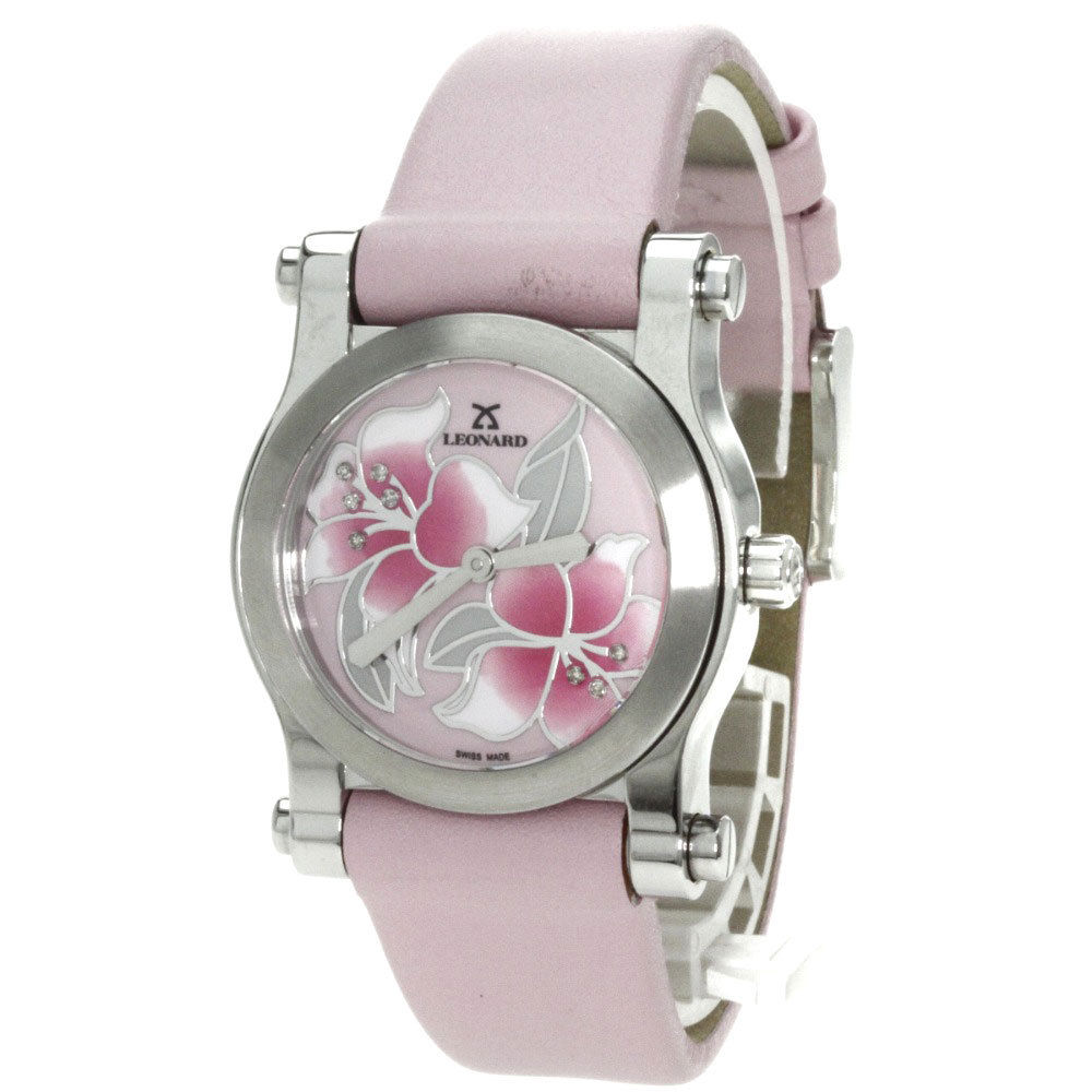 "Image of ""Leonard At8Q100 Stainless Steel / Leather Quartz 32mm Womens Watch"""