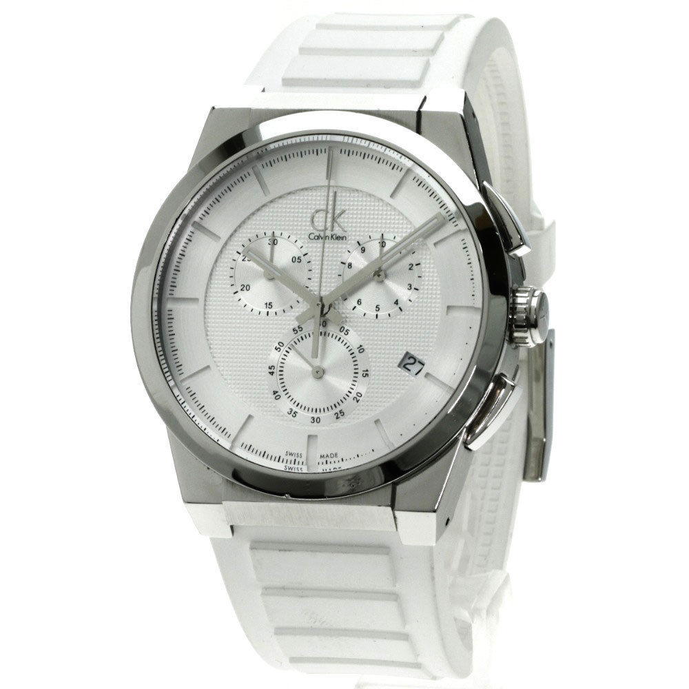 "Image of ""Calvin Klein K 25371 Stainless Steel & Rubber Quartz 50mm Mens Watch"""