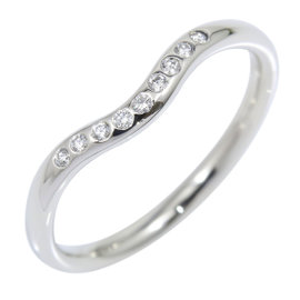 Tiffany & Co. 950 Platinum and Diamond Curved Wedding Band Ring Size 6.25