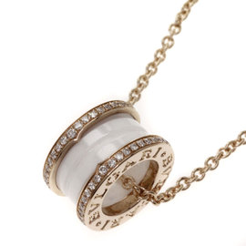 Bulgari B-zero 1 18K Rose Gold and Ceramic Diamond Pendant Necklace