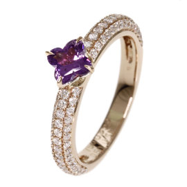 18K Rose Gold with 0.51ct. Diamond and 0.59ct Amethyst Ring Size 5.25