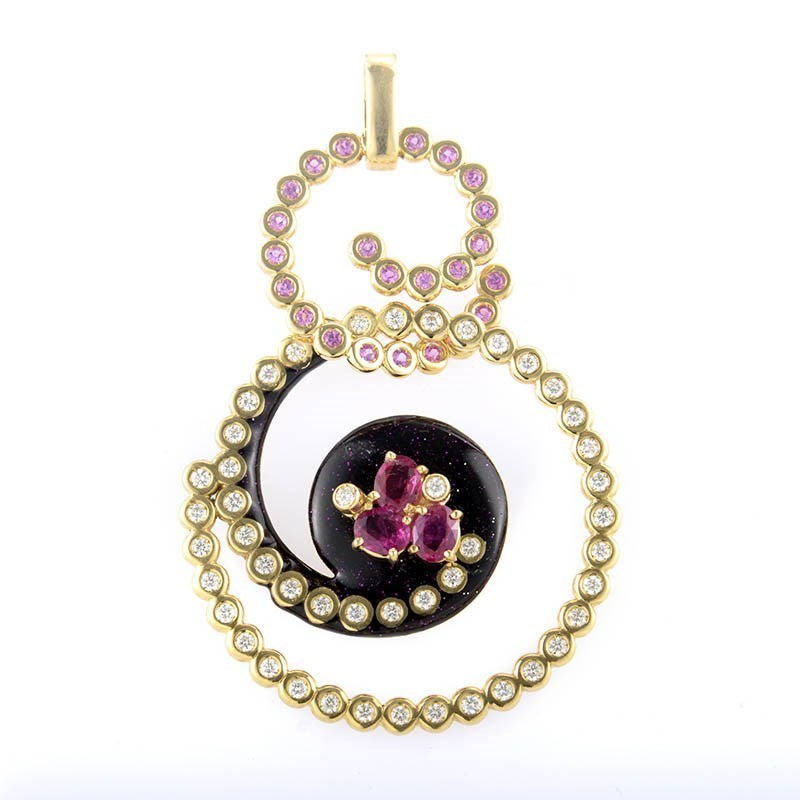 "Image of ""Alessandro Fanfani 18K Yellow Gold Pink Sapphire & Diamond Swirl"""