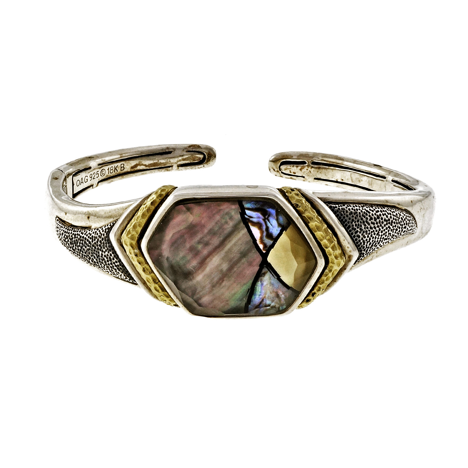 "Image of ""Asch Grossbardt 925 Sterling Silver & 18K Yellow Gold with Mother Of"""