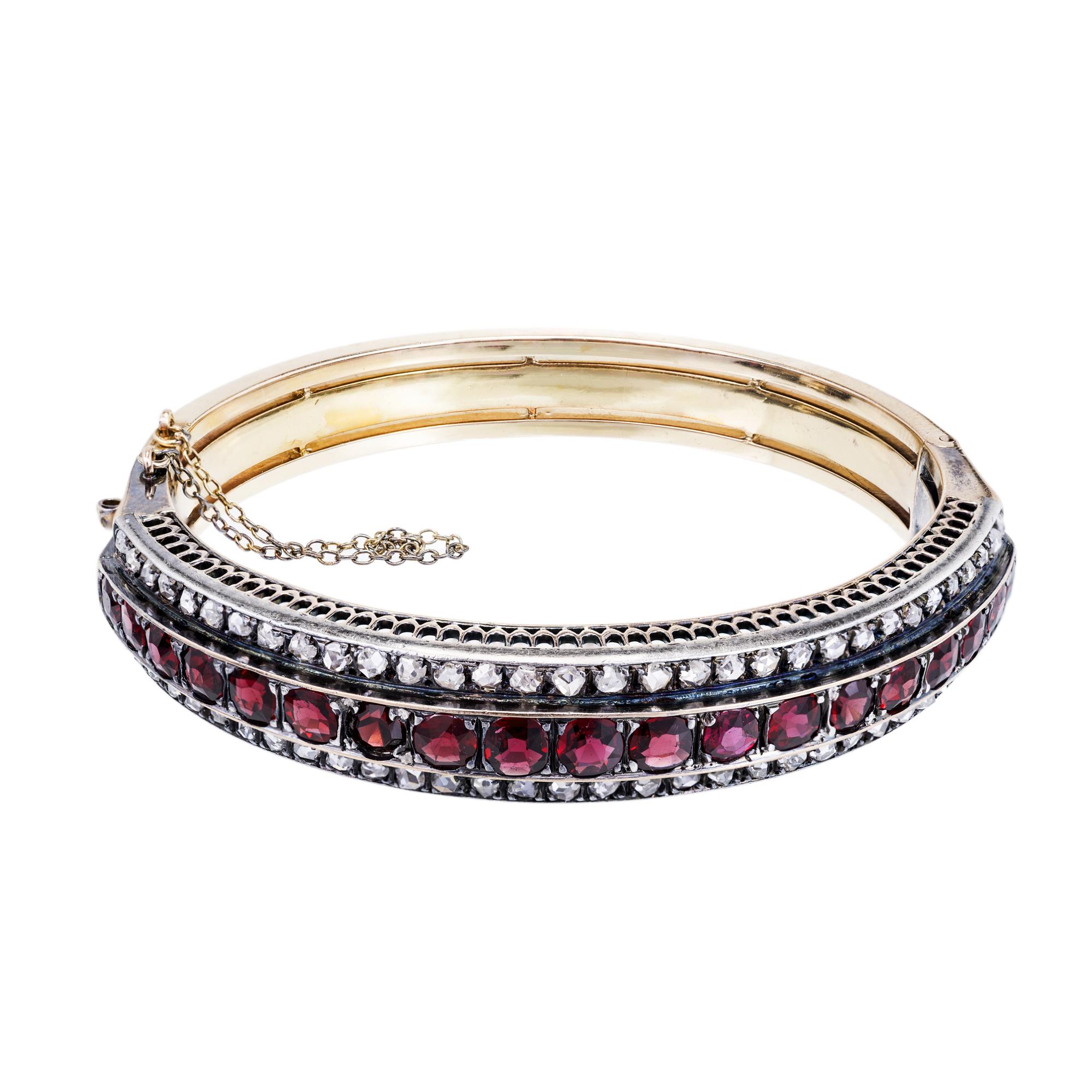 """""18K Yellow Gold with Garnet and Diamond Bangle Bracelet"""""" 2139655"