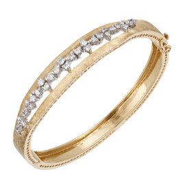 14K Yellow and White Gold Florentined 30 Full Diamond Bangle Bracelet